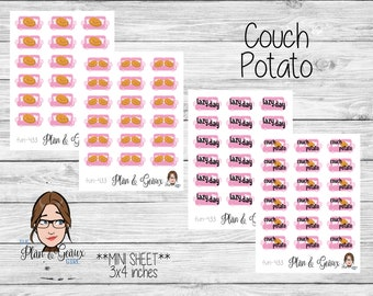 Couch Potato Planner Stickers, Lazy Day Stickers, Planner Stickers, Happy Planner Stickers, Bullet Journal, FUN-433 Pink