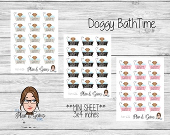 Dog Bath Planner Stickers, Doggy Daycare Planner Stickers, Bullet Journal, Bujo Stickers, Happy Planner Stickers, Bullet Journal, FUN-626