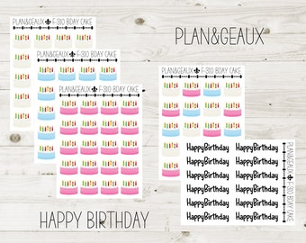 Birthday Cake Planner Stickers, Happy Birthday Stickers, Pink Cake Stickers, Happy Planner Stickers, Bullet Journal, FUN-310