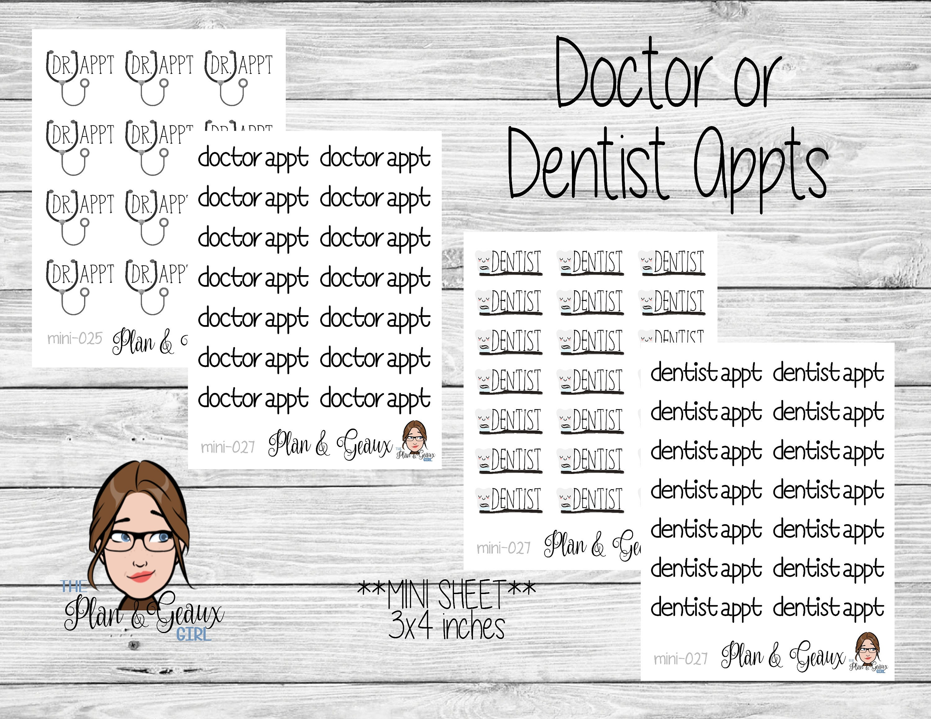 Doctor Appointment Planner Stickers, Dentist Appointment Planner Stickers,  MINI Sheets, Personal Planner, Bullet Journal, MINI-025