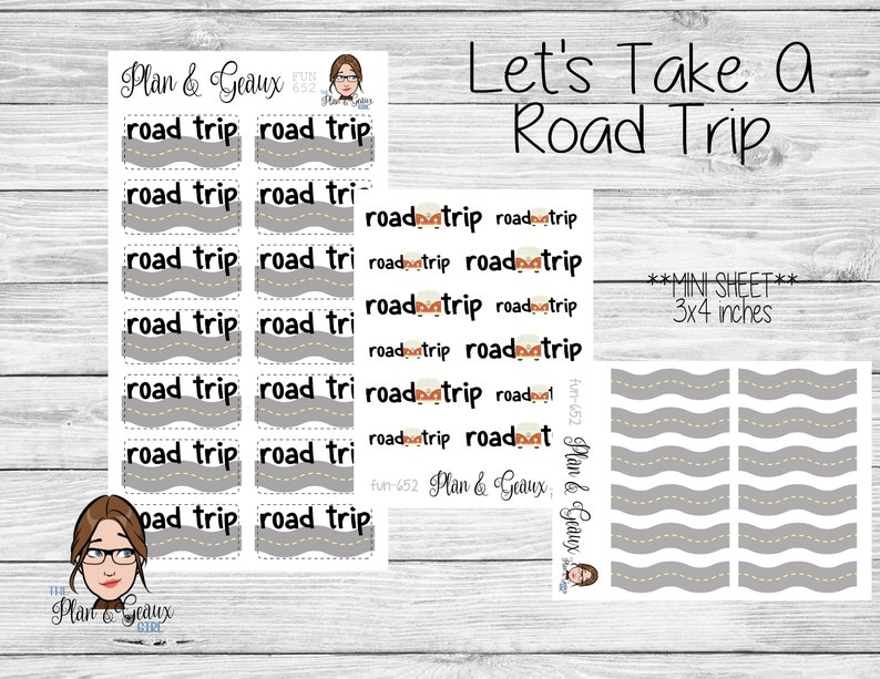 Car Trip Planner >> Road Trip Planner Stickers Summer Vacation Stickers Car Trip Etsy