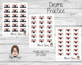 Drums Lessons Planner Stickers, Drums Stickers, Music Lessons Stickers, Rock On Stickers, Happy Planner Stickers, Bullet Journal, FUN-326