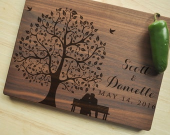 Personalized Cutting Board - Engraved Cutting Board, Custom Cutting Board, Wedding Gift, Housewarming Gift, Anniversary Gift, Tree Board