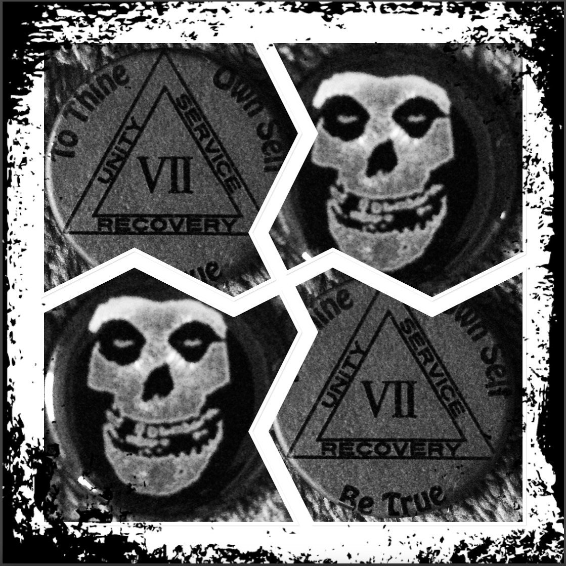 Hand crafted glass/Misfits, AA Chip, Sobriety Chip