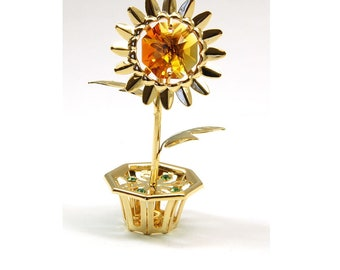 Sunflower Ornament Made With Swarovski Crystals