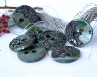 OOAK set of ceramic buttons clay sewing buttons ceramic sewing supply ceramic sewing accessories 6 green raku ceramic buttons