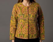 Mustard Floral Hand Block Printed Quilted winter Jacket