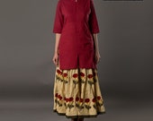 Hand block printed Skirt and plain color Red Shirt, women 39 s summer wear