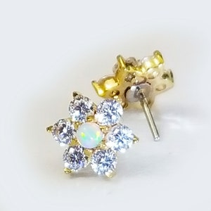 14k Yellow Gold Threadless 9mm MANDALA Flower Push Pin Top ~Threadless Pin Top~ 1 Mandala Top Only without post
