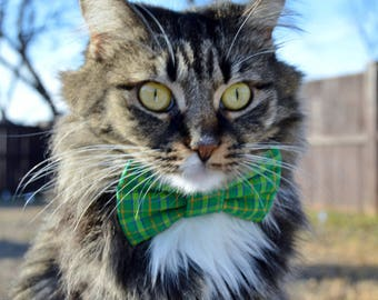 St. Patricks Day cat collar, green plaid collar, Green plaid cat bow tie, plaid cat collar, Plaid cat bow tie, green cat collar,,kitten bow