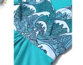 Nursing Dresses for Breastfeeding, Freedom Breastfeeding dress, Women's dresses, Short sleeve, Cross front Nursing Dress, Clouds and Waves