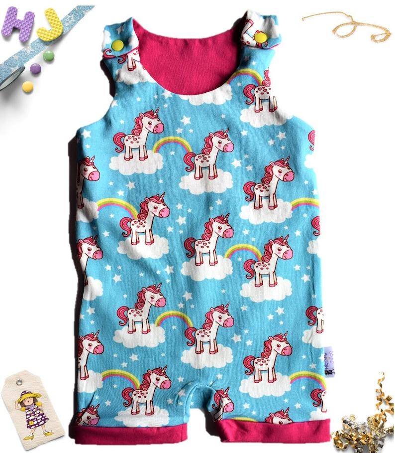 85259cd3f Unicorns Roaming Romper Slimline Slim fit Dungarees with | Etsy