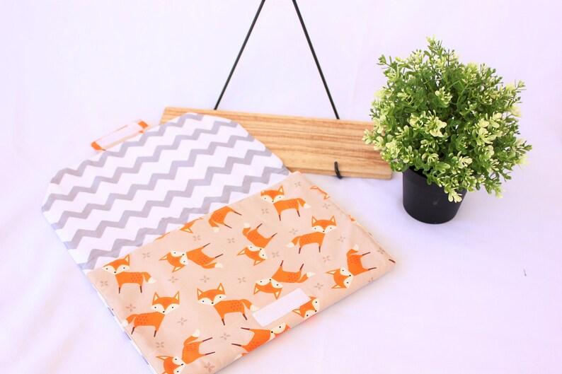 baby changing mat Fox baby mat orange unisex baby gift Baby changing pad diaper bag beige Woodland baby shower