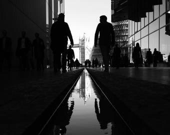 Black And White, Street Photo, Square Photo, London Art Print, London Photo, Urban Photo, Tower Bridge Print, Tower Bridge, Street View