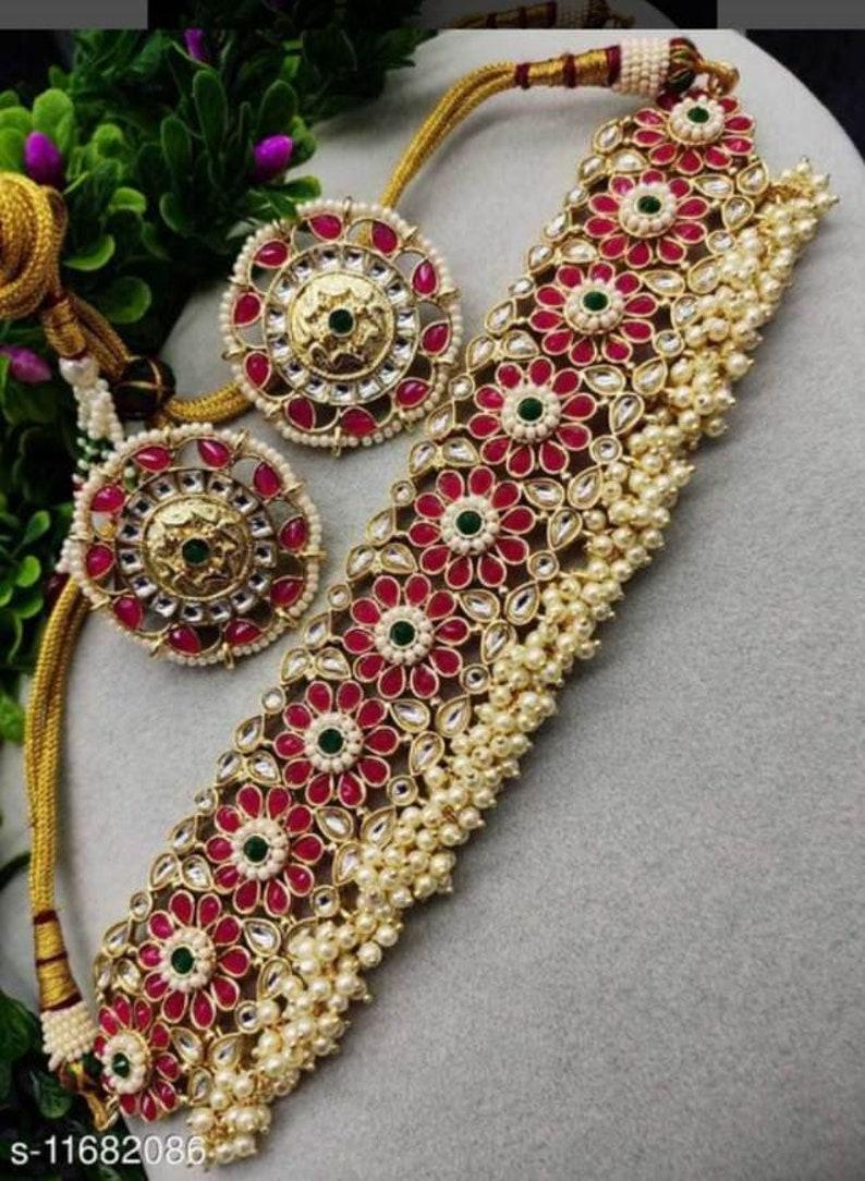 Polkhi Set. Beautiful INDIAN KUNDAN NECKLACE,Kundan Necklace Set Earring Jewelry,Bollywood,Ethnic,Sabyasachi Necklace,Bridal Jewelry