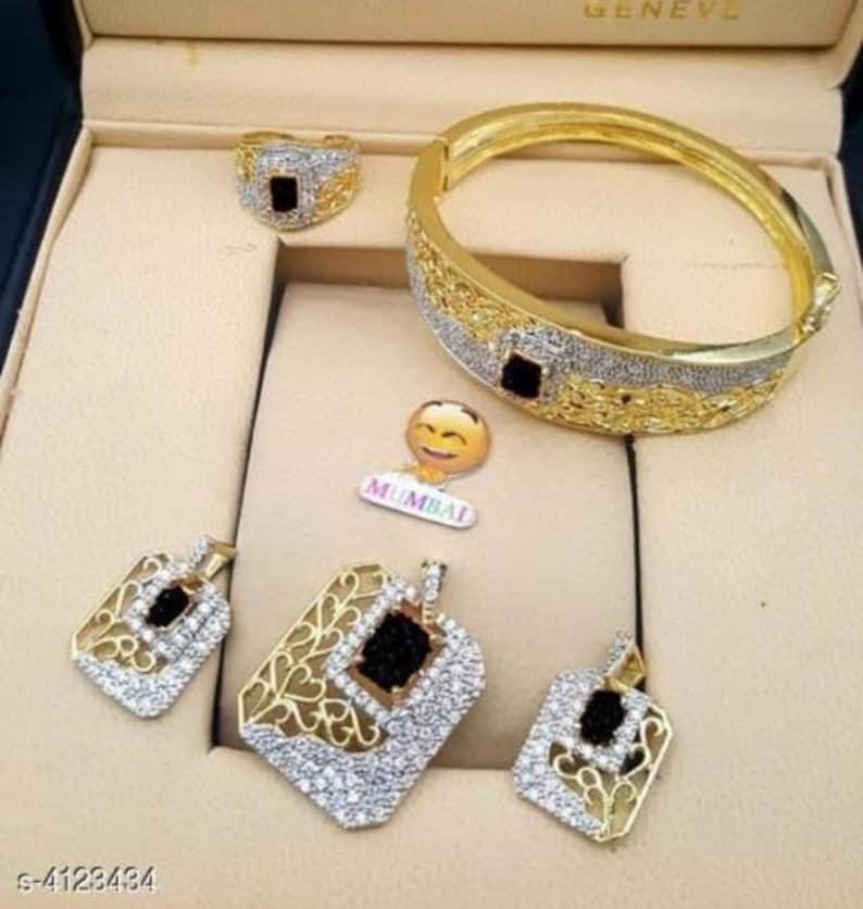 pendent set ring. bracelet Gold plated American diamond jewellery set Indian Jewelry Pakistani jewellery