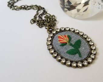 Embroidered Flower Pendant Necklace