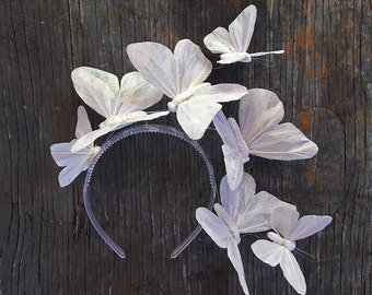 Iridescent White Butterfly Crown, White Butterfly Headpiece, Fascinator, Headband, Headdress, Wedding, Tiara
