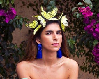 Mondlicht Festival Schmetterling Fascinator, Ostern Motorhaube Kopfschmuck, Kopfschmuck, Stirnband, Festival Krone, Neon-Kopfschmuck