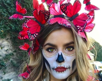 Day of the Dead Monarch Butterfly Crown Costume