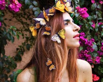 Sonnengöttin Schmetterling Krone, gelbe Blume Festival Kopfstück, Boho, Landhochzeit, Schmetterling Kopfschmuck, Krone, Stirnband