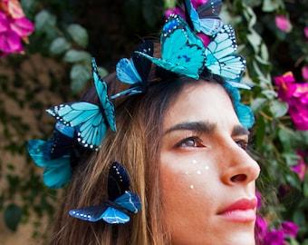 Aquamarin Traum Schmetterling, Krone, Statement Krone, Festival Krone, blaue Blumenkrone, Landhochzeit, Festival Kopfstück