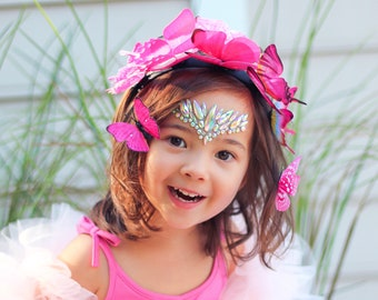 Princesa Pink child butterfly headband set