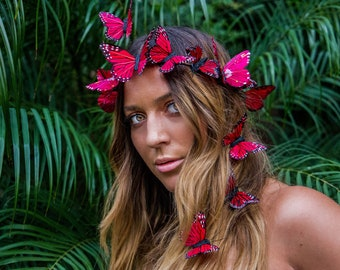 Spanish Rose Butterfly Crown, Red Flower Crown, Festival Headpiece, Boho Butterfly Headdress, Spring Accessory