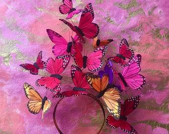 Jumbo Schmetterling Fascinator, Schmetterling Krone, Blumenkrone, Kopfstück, Schmetterling Kopfschmuck, Derby, Statement