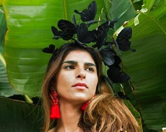 Eleganter schwarzer Fascinator, schwarze Kopfbedeckung, Derby-Kopfstück, Stirnband, Derby, Elegant, Chic