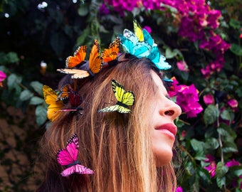 Rainbow Butterfly Crown, Statement Festival Headpiece, Rainbow Flower Crown, Floral Crown, Wedding Halo