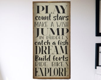 Summer Rules Painted Wood Sign, Seasonal Porch Decor, Playroom Plaque, Boy's Bedroom Decorations, Family Rules Patio Wooden Sign, Cabin Art