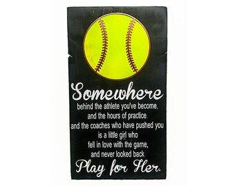 Play For Her Softball Bedroom Decor, Wooden Sign Player Gift, Wall Hanging,  Sports Themed Bedroom Decorations, Team Gift, Coach Appreciation
