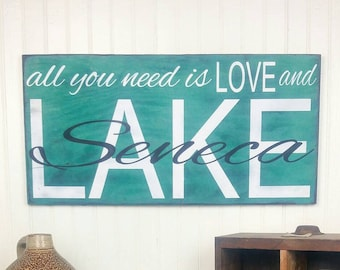 All you Need is Love and the Lake. Personalized Lake House Sign in Distressed Emerald Green, Custom Summer Home Cottage Chic Mantle Decor