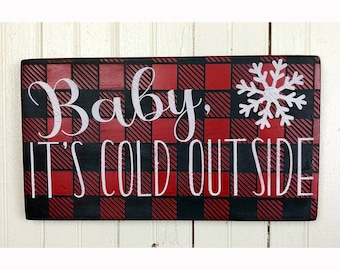 baby its cold outside red buffalo plaid christmas sign small christmas decorations rustic christmas wall art cabin christmas decor