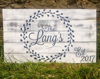 Large Family Name Sign Wedding Gift, Farmhouse Porch Signs, White Last Name Plaque, Rustic Outdoor Decor, Large Fixer Upper Established Sign