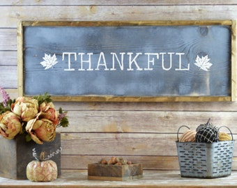 Thankful Wooden Sign, Framed Fall Wood Signs, Neutral Autumn Decor, Farmhouse Style Fall Decorations, Thanksgiving Mantel Ideas