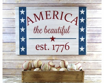 Patriotic Decor, 4th of July Decorations, America Sign Summer Decor, Summer Wood Sign, July 4th Home Decor, Americana Signs, Patriotic Gifts