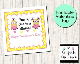 image about You Re One in a Minion Printable known as Minions valentines Etsy