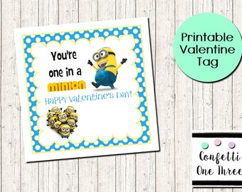 image relating to You Re One in a Minion Printable called Minions valentines Etsy