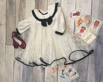 Size 3 - 4 black and white lace dress retro sailor collar