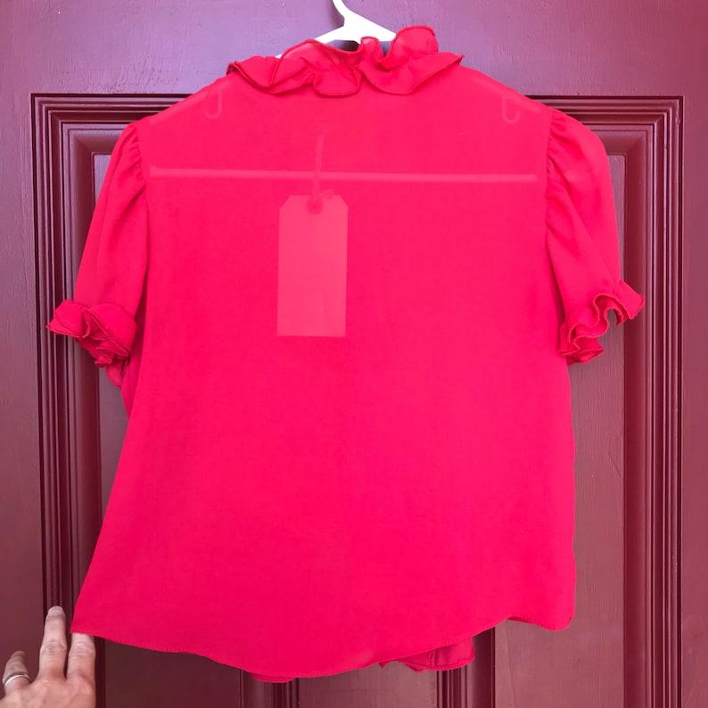 Small 80s short red ruffle blouse short sleeve sheer