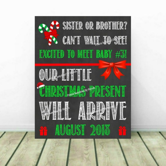 christmas pregnancy announcement christmas baby reveal 3rd etsy
