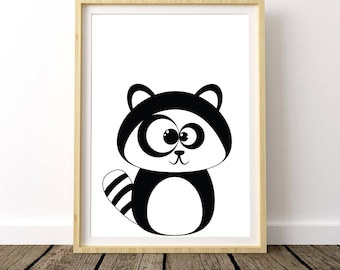 Raccoon Nursery Decor, Raccoon Print, Raccoon Poster, Baby Raccoon Print, Raccoon Wall Decor, Raccoon Art Print, Raccoon Printables,