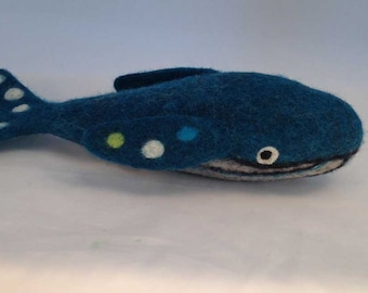 Felted Blue Whale