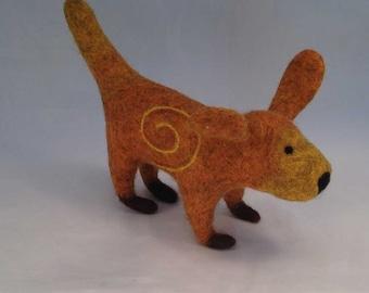 Felted Golden Orange Dog