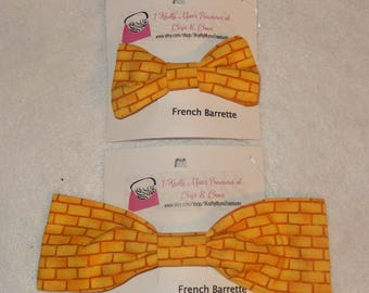 Yellow Brick Road Fabric Hair Bow French Barrette in 2 sizes