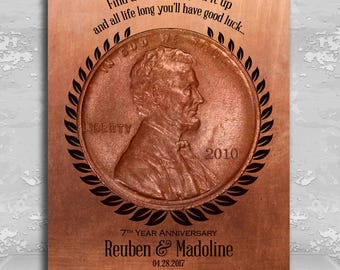 7 Year Anniversary Find a Penny Good Luck Personalized Faux Copper Gift of Tin 7th Anniversary Date Gift Custom Metal Plaque Wall Art 1467