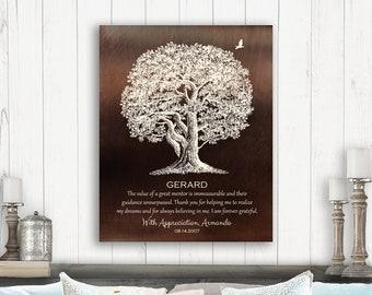 Mentor Gift Ideas Oak Tree Great Teacher Preceptor Quote Custom Art Print On Paper Canvas Or Metal Plaque 1397