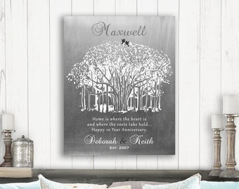 5bb0d907 10th Anniversary Personalized Ten Year Tin Wedding Banyan Tree Shiny  Tinniversary Gift For Couple Custom Metal Art Print Plaque #1809